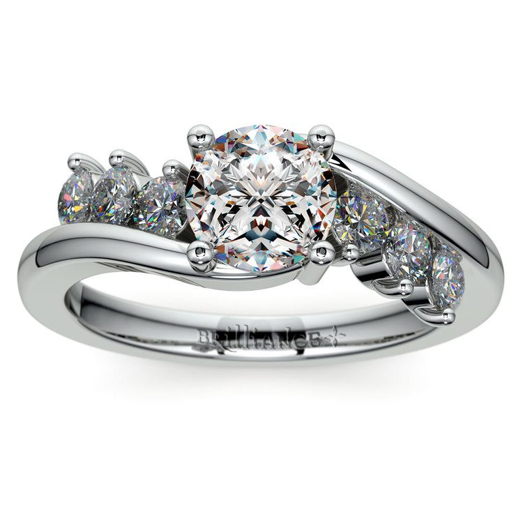 Swirl Style Diamond Engagement Ring in White Gold | 01