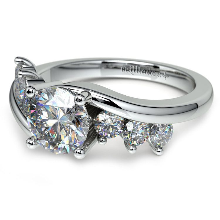 Swirl Style Diamond Engagement Ring in White Gold | 04