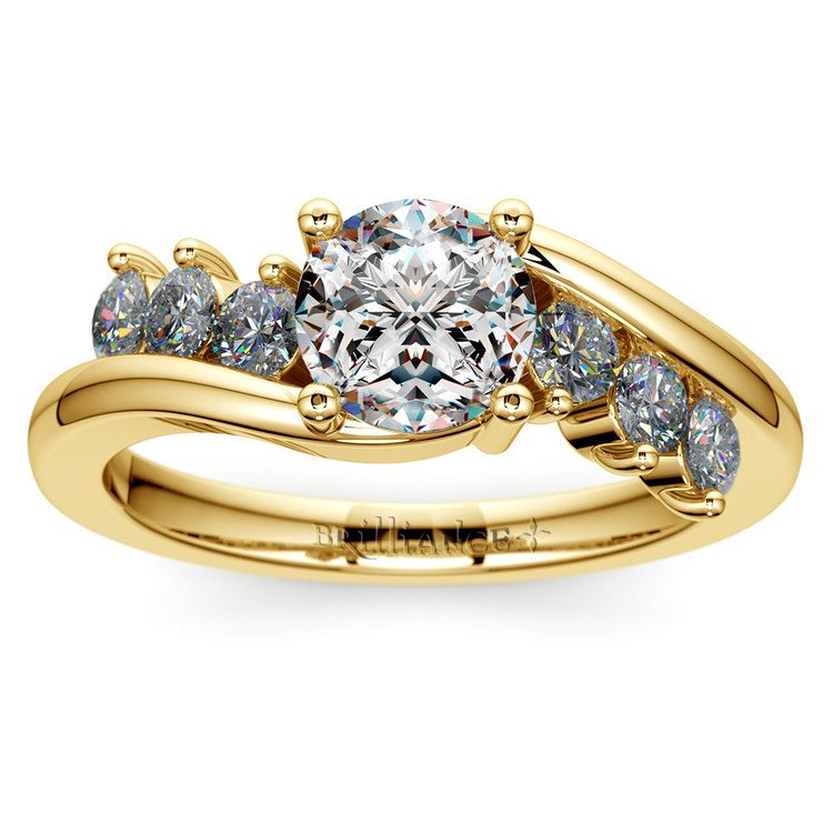 Swirl Style Diamond Engagement Ring in Yellow Gold | 01