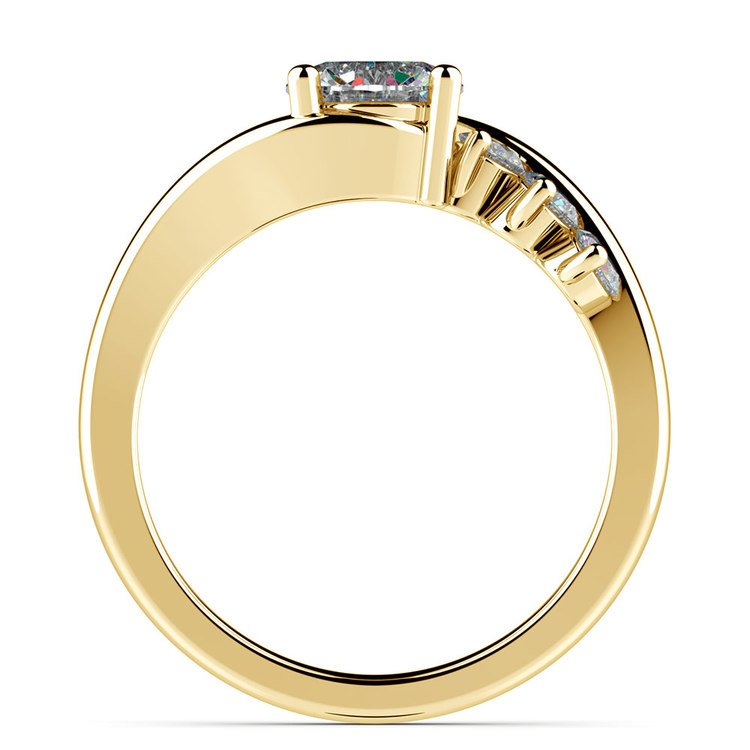 Swirl Style Diamond Engagement Ring in Yellow Gold | 02