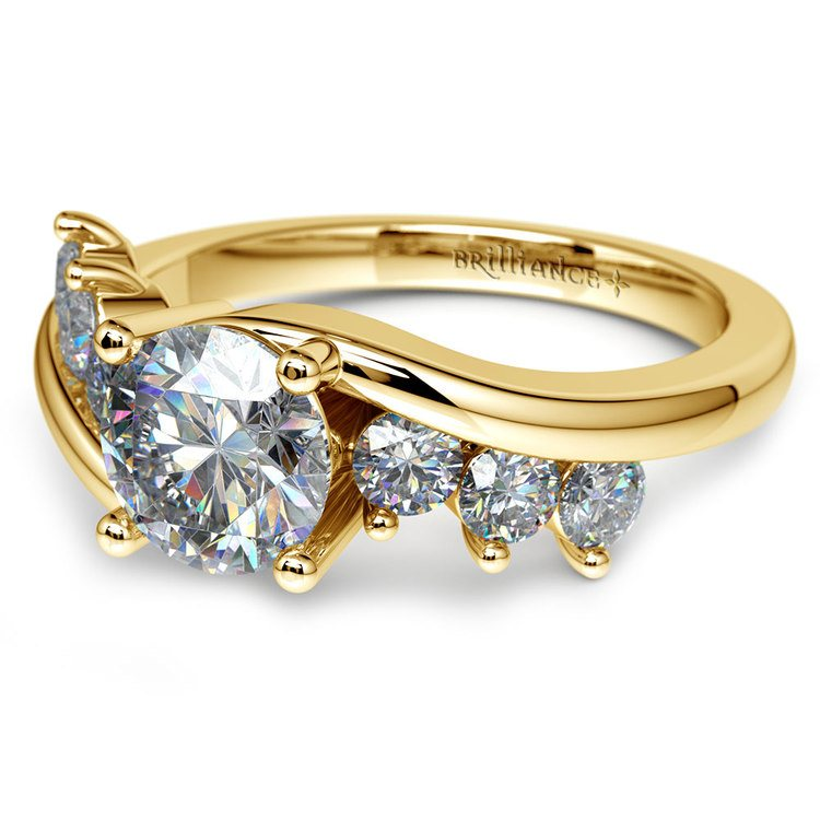 Swirl Style Diamond Engagement Ring in Yellow Gold | 04