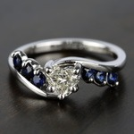Swirl Style Sapphire Gemstone Engagement Ring in White Gold | Thumbnail 05