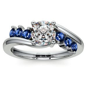 Swirl Style Sapphire Gemstone Engagement Ring in White Gold