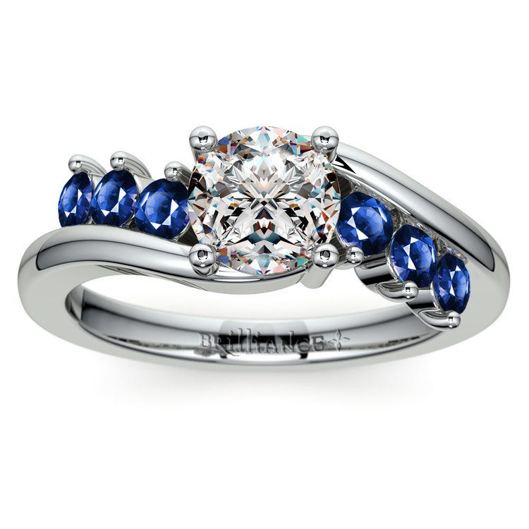 Swirl Style Sapphire Gemstone Engagement Ring in White Gold | 01