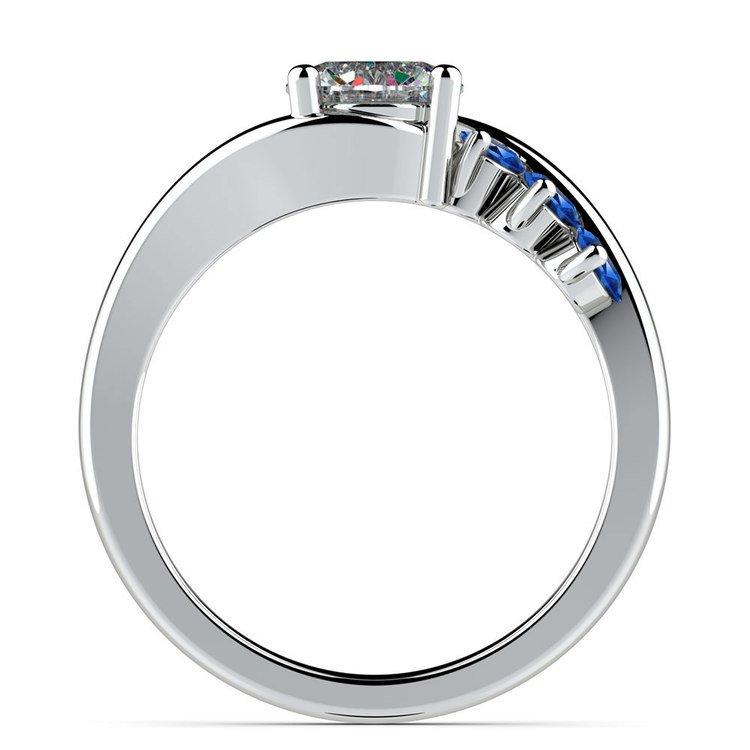 Swirl Style Sapphire Gemstone Engagement Ring in White Gold | 02