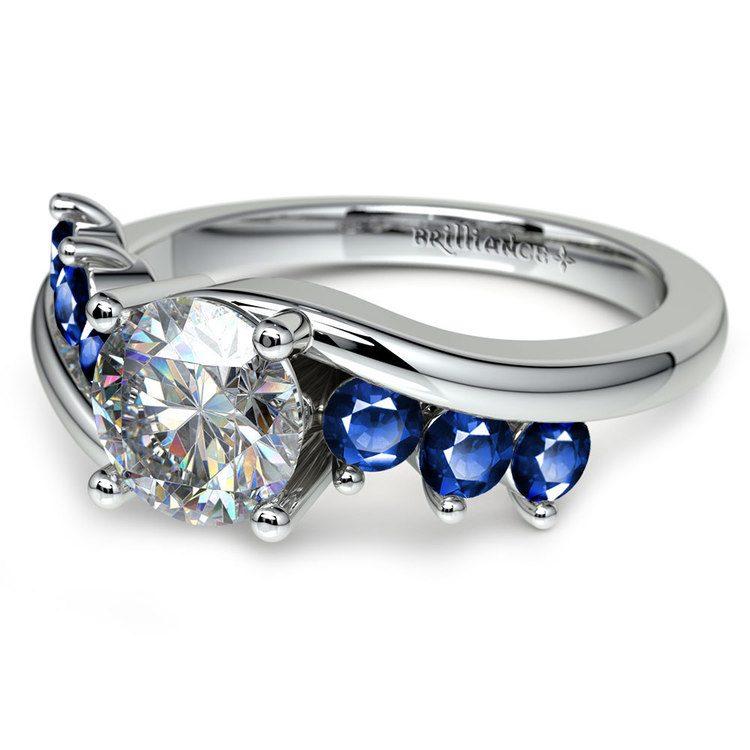 Swirl Style Sapphire Gemstone Engagement Ring in White Gold | 04