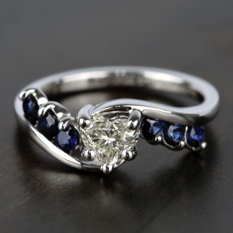 Swirl Style Sapphire Gemstone Engagement Ring in White Gold   05