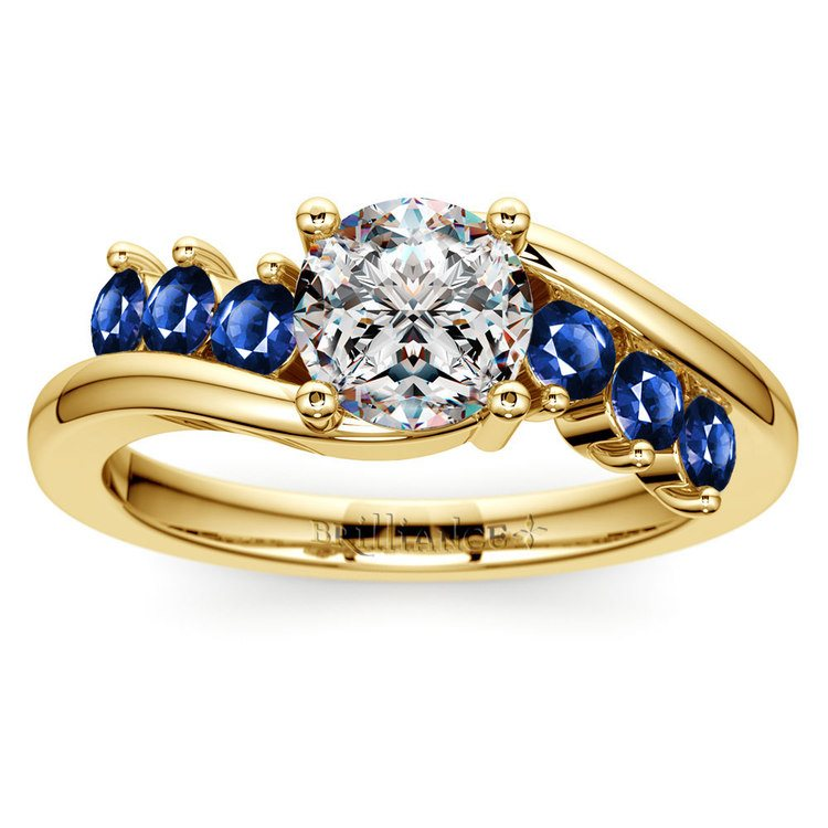 Swirl Style Sapphire Gemstone Engagement Ring in Yellow Gold | 01
