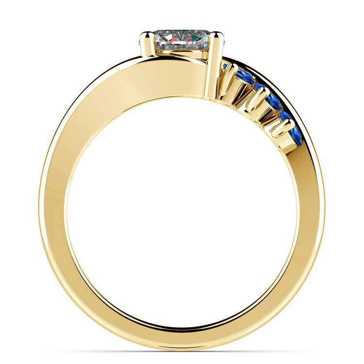 Swirl Style Sapphire Gemstone Engagement Ring in Yellow Gold | 02