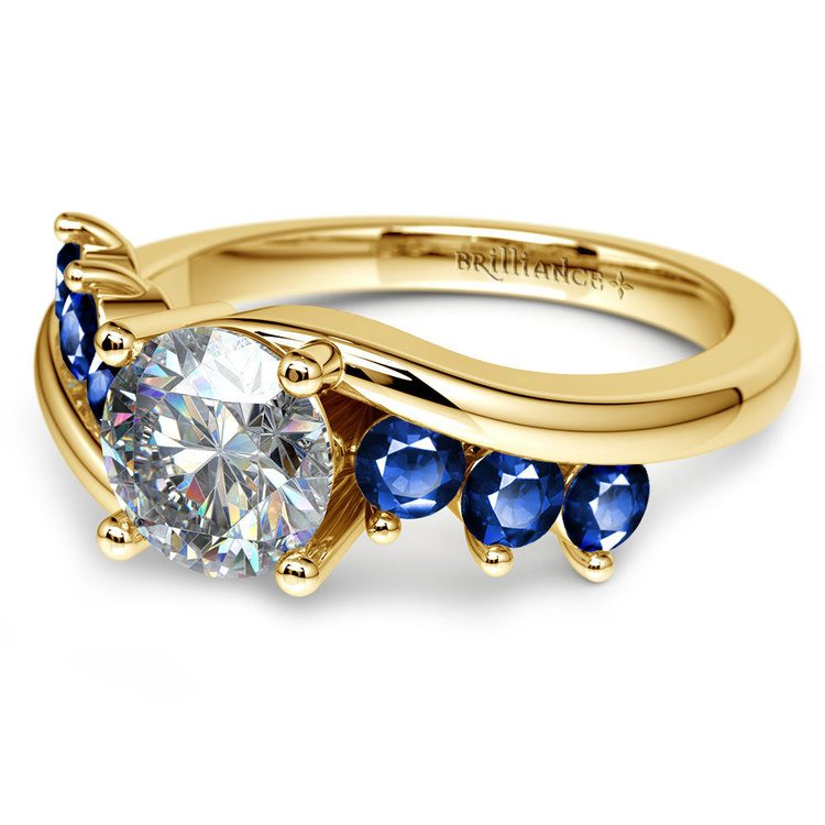Swirl Style Sapphire Gemstone Engagement Ring in Yellow Gold | 04