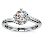 Swirl Style Solitaire Engagement Ring in Platinum | Thumbnail 01