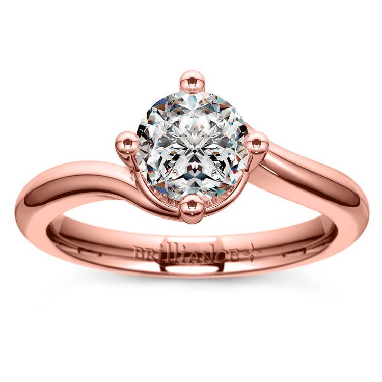 Swirl Style Solitaire Engagement Ring in Rose Gold | 01