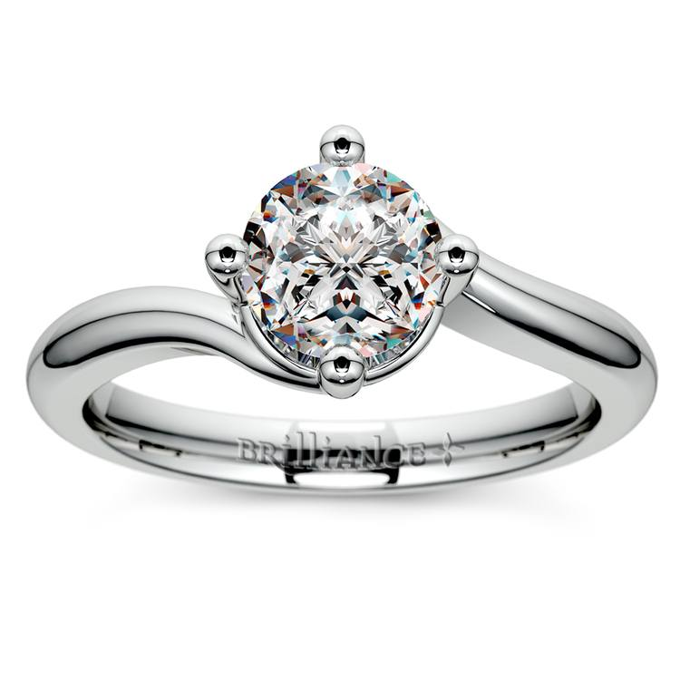 Swirl Style Solitaire Engagement Ring in White Gold | 01