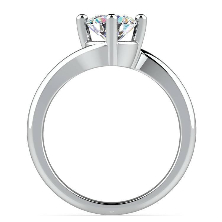 Swirl Style Solitaire Engagement Ring in White Gold | 02