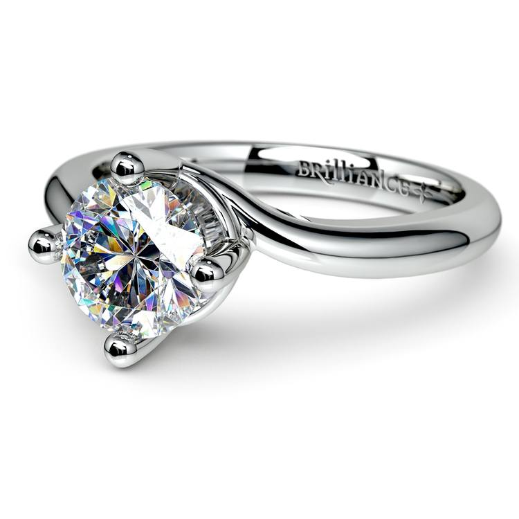Swirl Style Solitaire Engagement Ring in White Gold | 04
