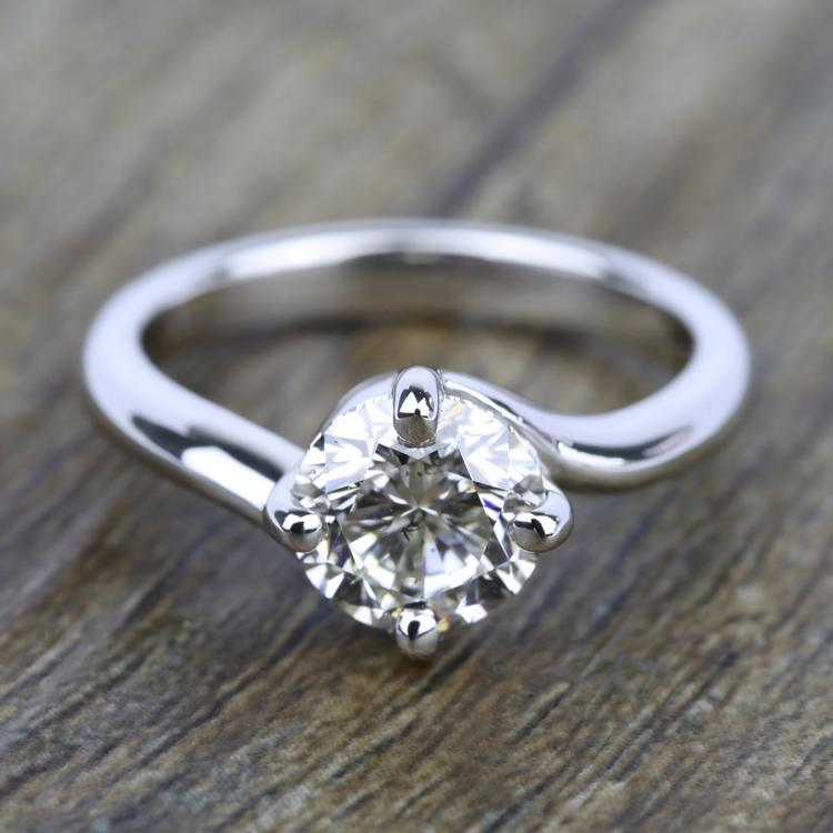 Swirl Style Solitaire Engagement Ring in White Gold | 05