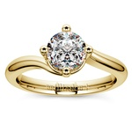 Swirl Style Solitaire Engagement Ring in Yellow Gold | Thumbnail 01