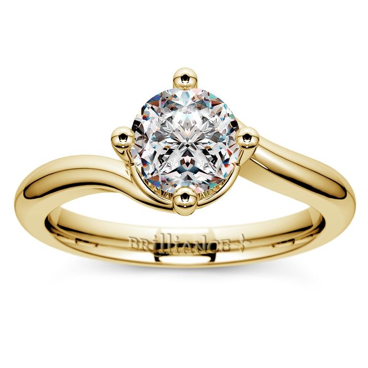 Swirl Style Solitaire Engagement Ring in Yellow Gold | 01