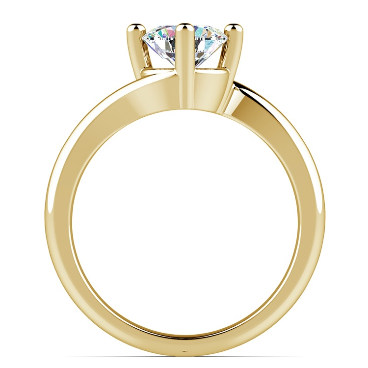 Swirl Style Solitaire Engagement Ring in Yellow Gold | 02