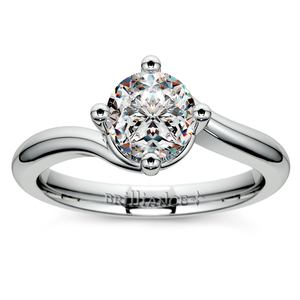 Swirl Style Solitaire Engagement Ring in Palladium
