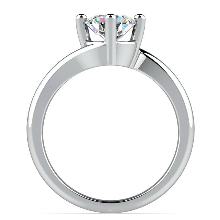 Swirl Style Solitaire Engagement Ring in Palladium   02