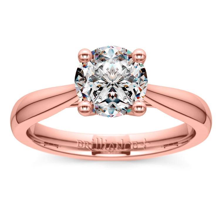 Taper Solitaire Engagement Ring in Rose Gold | 01
