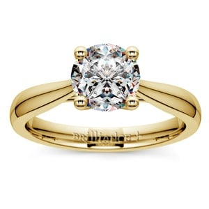 Taper Solitaire Engagement Ring in Yellow Gold