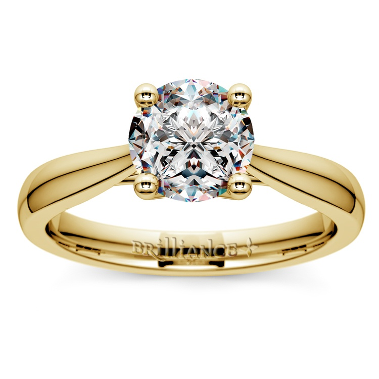 Taper Solitaire Engagement Ring in Yellow Gold | 01