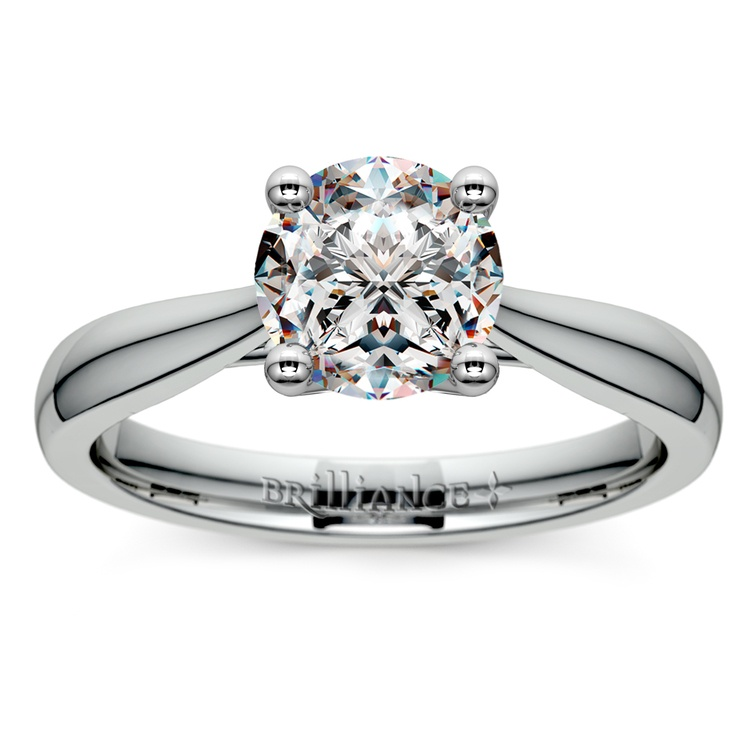 Taper Solitaire Engagement Ring in White Gold | 01