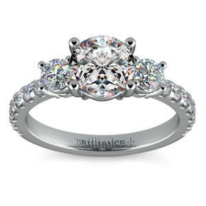 Three-Stone Diamond Scallop Engagement Ring in Platinum