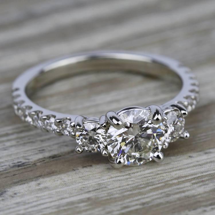 Three-Stone Diamond Scallop Engagement Ring in Platinum | 05