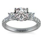 Three-Stone Diamond Scallop Engagement Ring in White Gold | Thumbnail 01