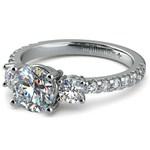 Three-Stone Diamond Scallop Engagement Ring in White Gold | Thumbnail 04