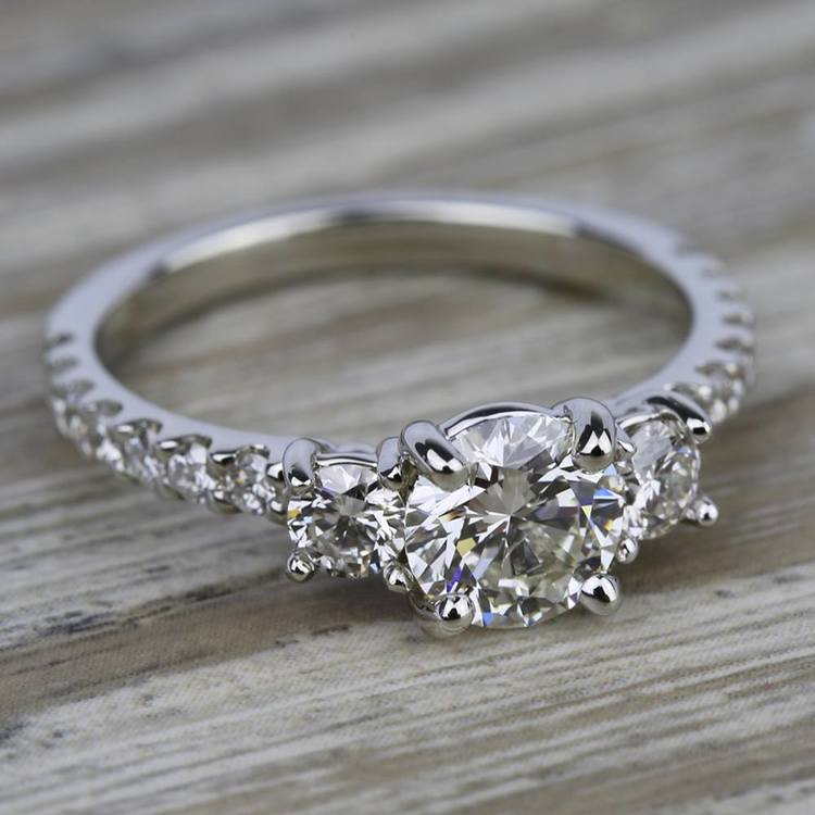 Three-Stone Diamond Scallop Engagement Ring in White Gold | 05