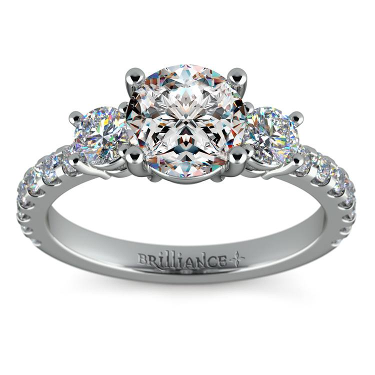 Three-Stone Diamond Scallop Engagement Ring in White Gold | 01