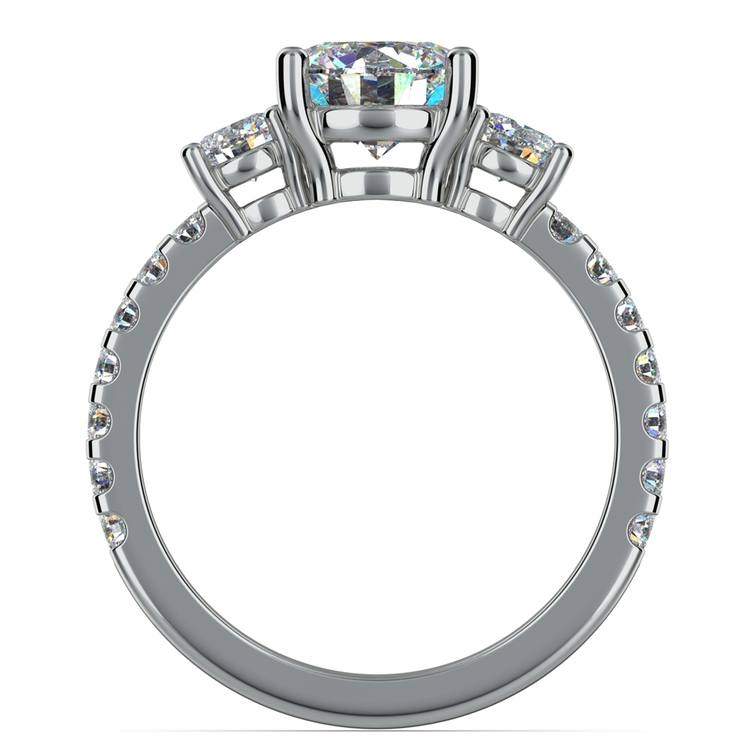 Three-Stone Diamond Scallop Engagement Ring in White Gold | 02