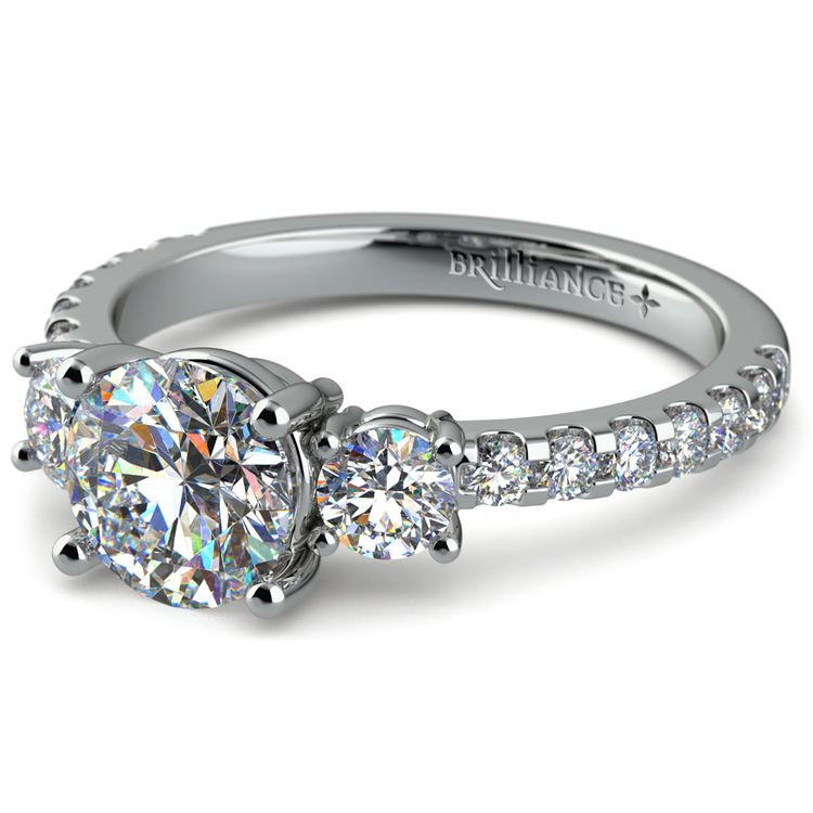 Three-Stone Diamond Scallop Engagement Ring in White Gold | 04