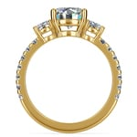 Three-Stone Diamond Scallop Engagement Ring in Yellow Gold | Thumbnail 02