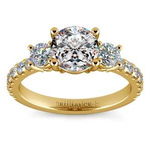 Three-Stone Diamond Scallop Engagement Ring in Yellow Gold