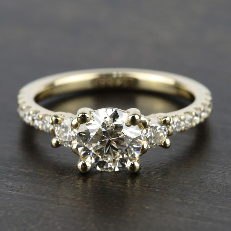 Three-Stone Diamond Scallop Engagement Ring in Yellow Gold | 05