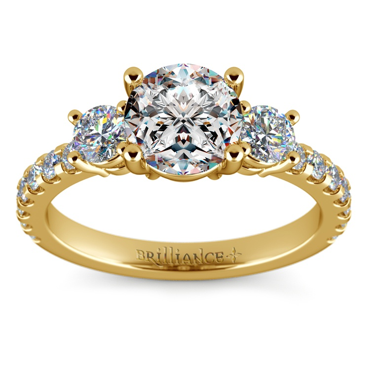 Three-Stone Diamond Scallop Engagement Ring in Yellow Gold | 01