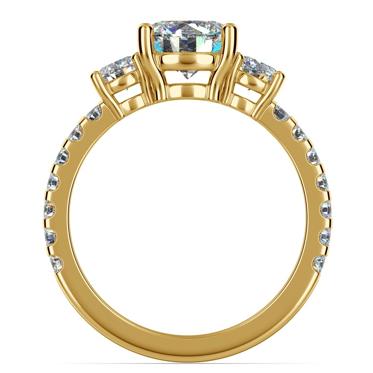 Three-Stone Diamond Scallop Engagement Ring in Yellow Gold | 02