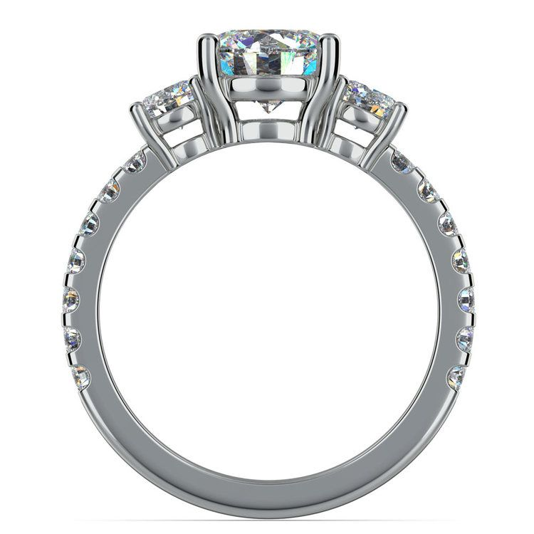 Three Stone Moissanite Engagement Ring in White Gold (6.5 mm)   04