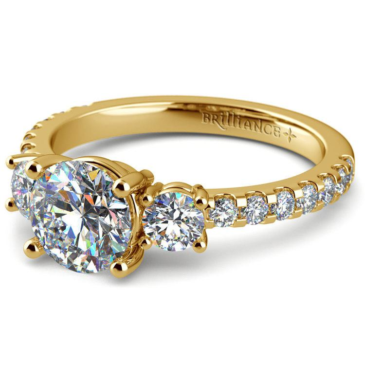 Three Stone Moissanite Engagement Ring in Yellow Gold (6.5 mm) | 01
