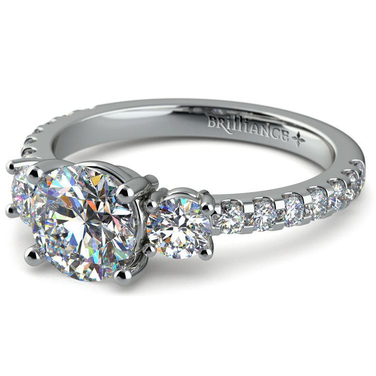 Three Stone Moissanite Engagement Ring in White Gold (6 mm) | 01
