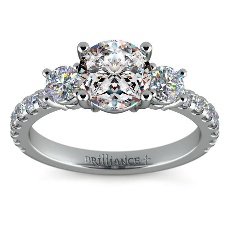 Three Stone Moissanite Engagement Ring in White Gold (6 mm) | 02