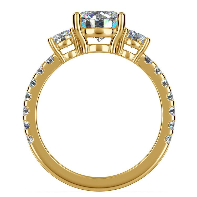 Three Stone Moissanite Engagement Ring in Yellow Gold (6 mm)   04