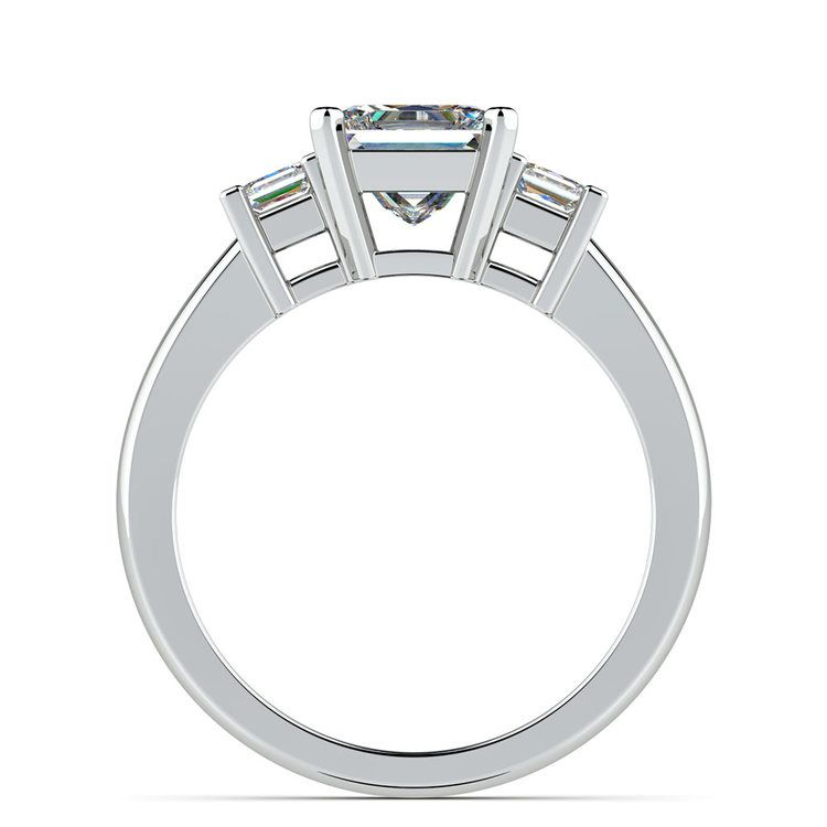 Three Stone Princess Moissanite Engagement Ring in White Gold (5.5 mm) | 04