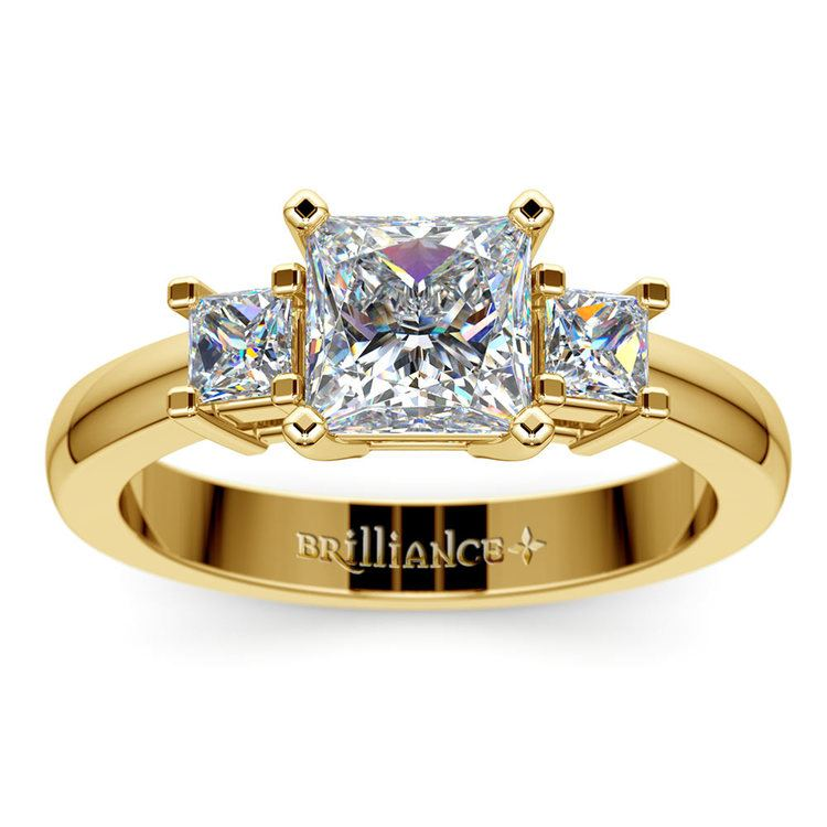 Three Stone Princess Moissanite Engagement Ring in Yellow Gold (5 mm) | 02