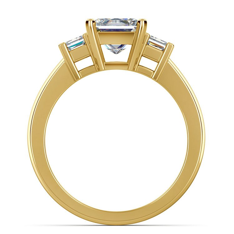 Three Stone Princess Moissanite Engagement Ring in Yellow Gold (5 mm) | 04